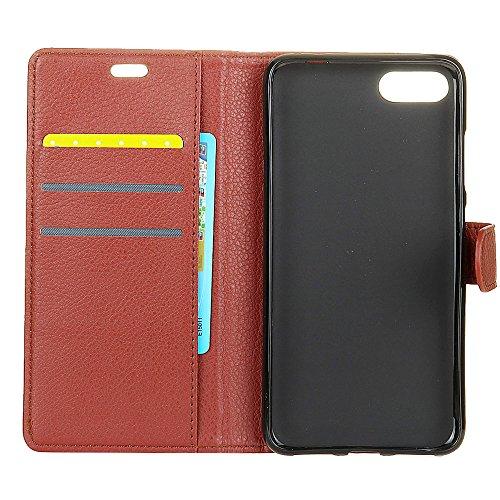 Klassische Litschi Textur PU Leder Schutzhülle Horizontale Folio Flip Stand Case Cover mit Kartensteckplätzen für Asus Zenfone 4 MAX ZC554KL ( Color : Blue ) Brown