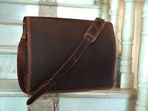 Kk in pelle da 38,1cm in vera pelle borse a mano borse vintage rustico crossbody messenger borse a tracolla satchel borsa da uomo donna ~ ~ anticata di computer book ~ robusto per il trasporto e regali di kk