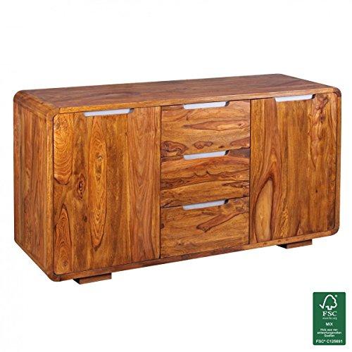 Sideboard Massivholz Sheesham Kommode 145 cm 3 Schubladen 2 Türen Design Highboard Landhaus-Stil Echt-Holz Natur-Produkt Schubladenkommode dunkel-braun Flur-Möbel Aufbewahrung Dielen-Möbel