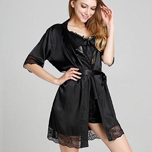 LJ&L Weiblich Shi Leisi sexy kühl und bequem atmungs V-Ausschnitt Riemen / Nachthemd / zweiteilige Pyjamas,Gold,L Black
