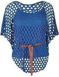 Femmes Plus Size Crochet Cami semelle intérieure Gilet maille ceinture Jumper Batwing 40-54