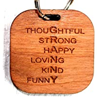 MadeAt94 Cherrywood Granny Keyring for Valentines Day Birthday Mothers Day Gift