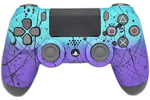 Playstation 4 Controller, Airbrush-Optik, für Fernbedienung Matte Teal & Purple