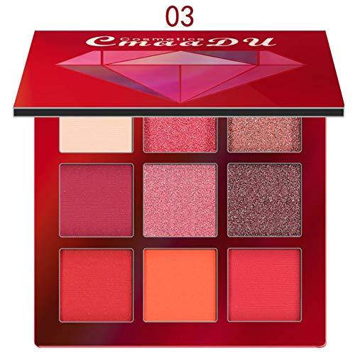 Lidschatten Palette, 9 Farben Matt Diamond Shiny Highlighter Eyeshadow Make-up Pallet (Rot) - Kno-finish