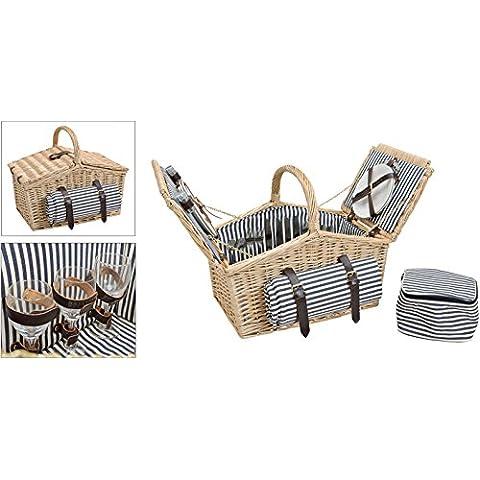 Cesta de picnic, color azul de rayas | Kit de picnic para 4personas (26piezas, color blanco