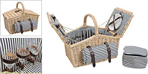 Picknickkorb, blau-weiß, gestreift | Picknick Set für 4 Personen | 26 Teile