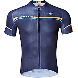 SANTIC Maillot de Bicicleta,Maillot de Ciclismo,Camiseta y Camisa de Ciclismo,Chándales para la Bici con Mangas cortas Azul Marino XL