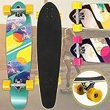 "Physionics Skateboard | 34"" (86cm), Kugellager: ABEC-9, Designwahl | Longboard, Retro-Board, Mini Cruiser, Cruiser Board, Komplettboard - Risky Rocks"