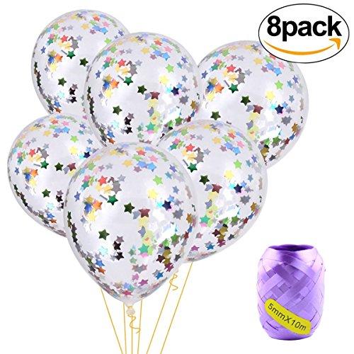 Annein 12 Zoll Luftballons Konfetti Klare 8 teilig, Luftballons Partyzubehör aus Latex mit Grundlage von Konfetti Bunte (Halloween Dekoration Sprengen)