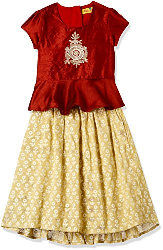 Akkriti By Pantaloons Girls' Regular Fit Lehenga Choli (110030913_Maroon_2 YRS)