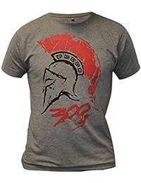 300 Spartan Warrior Leonidas Helmet Blood Splat Sparta Mens Fancy Dress T-shirt