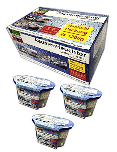 Set 3x Luftentfeuchter mit Nachfüllpack Granulat Raumentfeuchter Box Haus KFZ