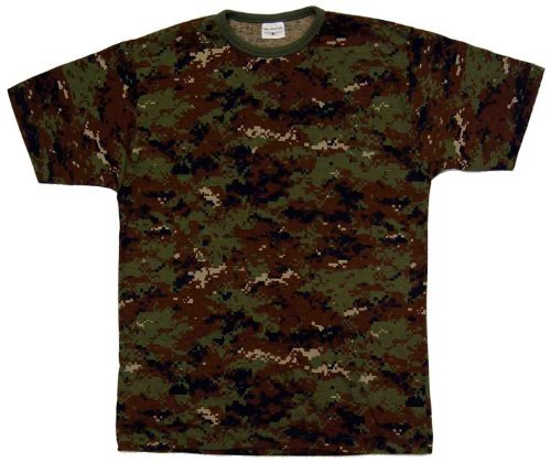 Dallaswear Herren T-Shirt, Camouflage, Militär-Design, Größen S-3XL - - Digital Woodland - Medium -