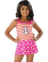 The Little Princess-Girls Charming Print Multi Colored Halter Ruffled Scoop Neck Cover Up