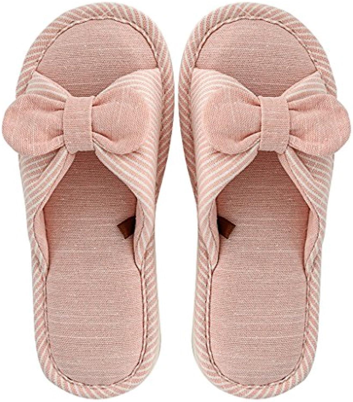 Temporadas de Otoño e Invierno Cute Ladies Bow Floor Slippers Cotton Linen Floor Inicio Zapatillas de Interior
