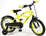.Volare Bicicleta Niño Yellow Cruiser 14 Pulgadas Ruedas Extraíbles Amarillo 95% Montado