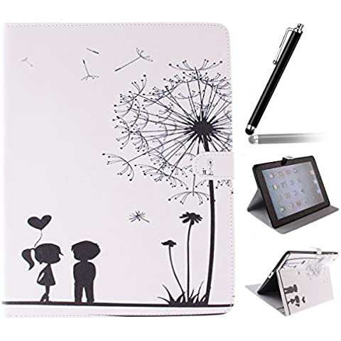 Ipad 2 3 4 Wallet Cover, Ipad 2 3 4 Flip Leather Case Back Cover, Ukayfe Stand Function PU Leather Case Premium Soft Slim Cover Bookstyle with Magnet Closure Credit Card Holder Slots for Apple iPad 2 3 4 iPad 2 iPad 3 iPad 4 with 1 x Black Stylus - romantic couples