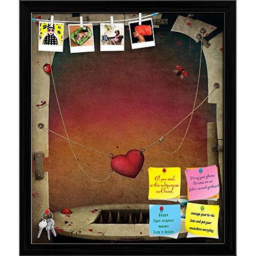 Artzfolio Abstract Hearts Printed Bulletin Board Notice Pin Board | Black Frame 16 X 19Inch -