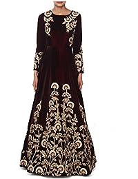Ethnic Empire Women Taffeta Silk Anarkali Semi-Stitched Salwar Suit (Ethnic_FlexER10755_Brown_Free Size)