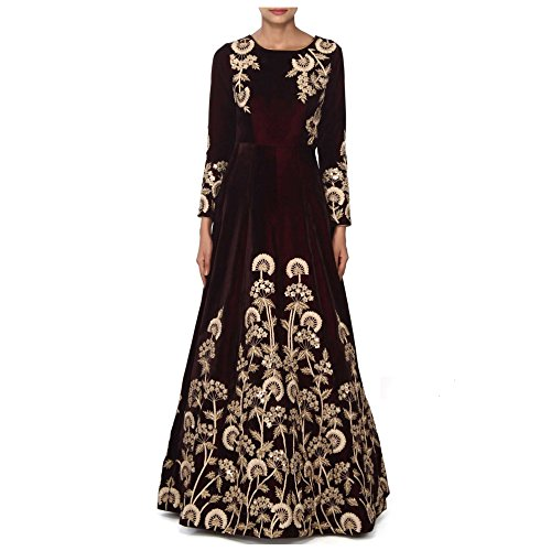 Ethnic Empire Women's Taffeta Silk Anarkali Salwar Suit Set (Eeas_Ea10755_Brown_Free Size)