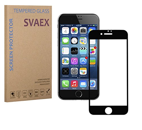 SVAEX iPhone 8 iPhone 7 - Vollständige Abdeckung - Schwarz - Premium Bildschirmschutz aus gehärtetem Glas - 9H gehärtetes Glas - 0.3mm dick - HD-Transparenz - 2.5D abgerundete Ecken - stoßfest - öl-/fettabweisende Beschichtung - berührungssensible Oberfläche - hochwertiges Glas - einfache Anbringung - blasenfreie Klebefläche aus Silikon - Japanisches Glas (Ersatz-bildschirm 3 Tab Galaxy 7)