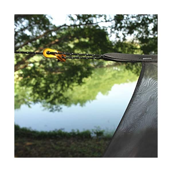 LIOOBO 1Set Camping Hammock with Mosquito Net Lightweight Adjustable Net Hammock Bug Hammock Mosquito Hammock for Backpacking Beach LIOOBO Great Gifts: adults, couples, travelers, couples with kids, beachers, campers - everyone says they enjoy it! A great gift for travel, camping, yard You can also quickly store the hammock and parts in the bag quickly. The camping hammock compacts to a backpack friendly, portable size for your convenience. Has built-in ultralight, waterproof compression stuff-sack, with a 2-sided buckle design that wonâ€t drag in the dirt while you hang. 4