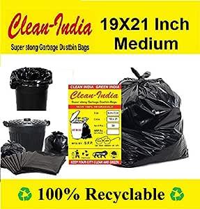 Clean IndiaTM - Garbage Bags - 19X21 | 3 Packs of 30 Pcs - 90 Pcs | Black Medium Disposable Dustbin Bags