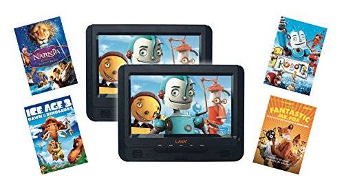 Lava 9-inch Dual Screen Portable DVD Player with Fox Family Movie Bundle (Chronicles of Narnia - The Voyage of the Dawn Treader, Fantastic Mr Fox, Ice Age 3, Robots)