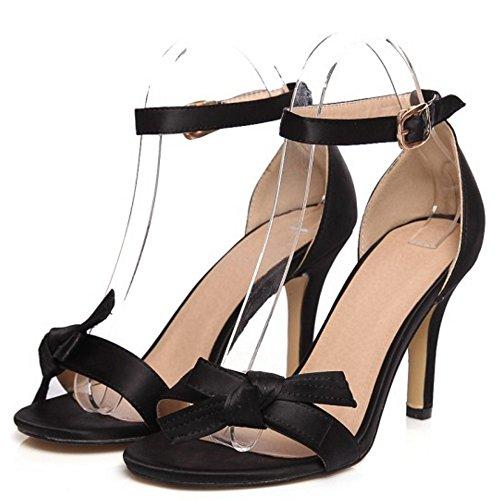 Alla Cinturino Fibbia D'estate Alto Taoffen Nero Tacco Caviglia Sandali Papillon Sera Donna Elegante XqptwTnnE