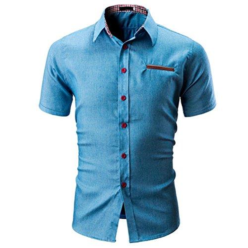 Camicetta da uomo,yumm t-shirt uomo elegante slim fit teeshirt camicia polo tee camicie maglia a manica corta maglione felpe hoodie tops pullover (bu, l)
