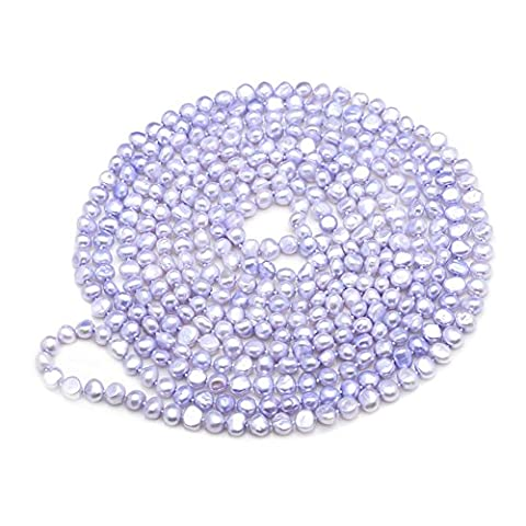 Jade Angel Purple 7-8mm Freshwater Cultured Potato Shape Pearls Necklace 100 inches