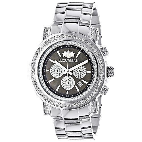 LUXURMAN Big Diamond Watch for Men 2.5ct Black MOP Escalade w Chronograph
