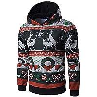 Sweat-Shirt à Capuche Wapiti Noël Hommes,Pull à Manches Longues Impression Coton Hiver Mode Pullover Simple Hoodie Sport pour Casual Top Blouse Grande Taille Outwear Veste