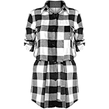 Mxssi Damen Kariertes Hemdkleid Langarmshirt Blusenkleid Karierte Bluse  Lang Hemden Blusen Plaid Shirts Hemd Minikleid Button 5c9aa47ca9