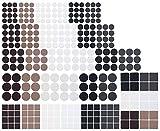 AGT Bodenschutz: 330-teiliges Filzgleiter- und Möbelpuffer-Set, schwarz/braun/weiß (Filzgleiter selbstklebend)