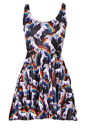erdbeerloft - Mädchen Girly Mini Kleid / Skater Dress mit Einhorn/Regenbogen-Druck, 34, Mehrfarbig