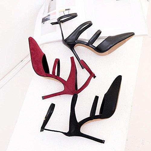 L@YC® Damen Sandalen High Heels Sommer Fine mit Wildleder Kopf Shallow Mund Wort Gürtelschnalle Spitz Schuhe Black