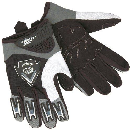 Roleff Racewear Kinder Motocross Handschuhe, Schwarz / Silber, S.