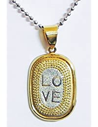 DollsofIndia Gold Plated Pendant With Engraved Love - Metal (GE43-mod) - Silver Color, Golden
