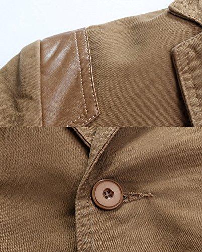 ZhiYuanAN Uomo Chic Stitching In Pelle Pu Giacca Taglia Larga Elegante Blazer Jacket Casual Slim Fit Business Cappotto Outwear Cachi