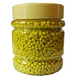 #3: eshoppee yellow color 8/0 glass beads, seed beads pot 200 gm (approx 6000 beads) for jewellery, art and craft making diy project kit (yellow)