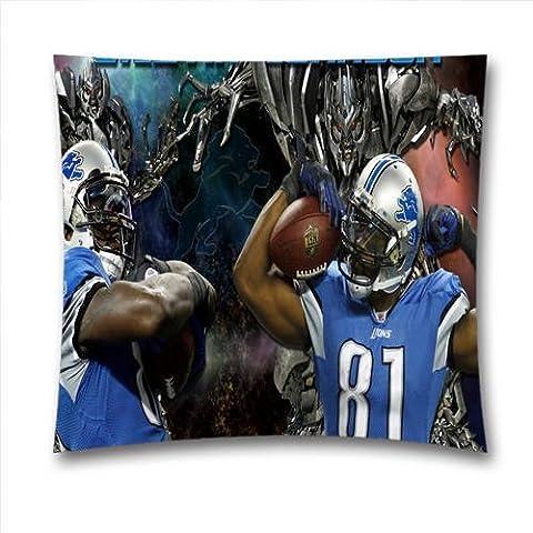 Sport Cotton Linen DIY Decorative Pillowcases Cushion Cover With Calvin Johnson I Am Megatron Detroit Lions ,NFL Square Pillow Case,Cover Size:18 x 18 Inch(45cm x 45cm),Home Gift,Sofa