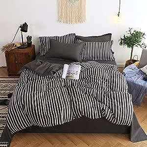 SHJIA Bettbezug, weich und bequem, pflegeleicht, Mikrofaser Bettwäsche schwarz 220x240cm
