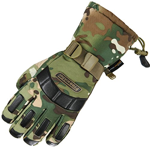 FREE SOLDIER Herren Winter Outdoor Ski Wasserdichte Vollfinger Handschuhe Verdicken rutschfeste Schaf Leder Wandern Handschuhe (CP Camouflage)