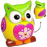 Unbekannt XL große - Spardose -  lustige Eule - LILA / ROSA - gelb - bunt  - stabile Sparbüchse aus Porzellan / Keramik - Sparschwein - Eulen Vögel - für Kinder & Erw..