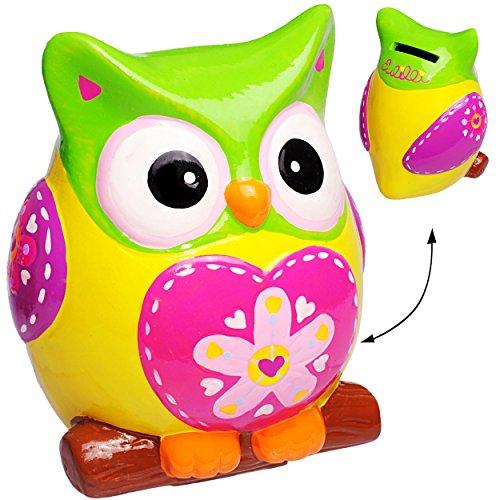XL große - Spardose -  lustige Eule - LILA / ROSA - gelb - bunt  - stabile Sparbüchse aus Porzellan / Keramik - Sparschwein - Eulen Vögel - für Kinder & Erw.. ()