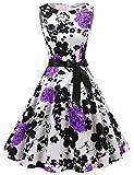 Gardenwed Damen 1950er Vintage Cocktailkleid Rockabilly Retro Schwingen Kleid Faltenrock White Lavender Flower 3XL