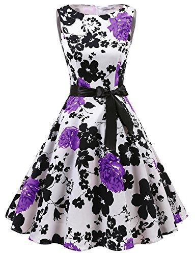 Gardenwed Damen Vintage 1950er PartyKleid Rockabilly Ärmellos Retro CocktailKleid White Lavender Flower XS