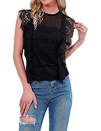 Sannysis Mujer Cordón Tops Sin mangas Perspectiva Sudadera Pullover Blouse Shirt Tee Las mujeres del cordón del O-cuello blusas camisas de la…