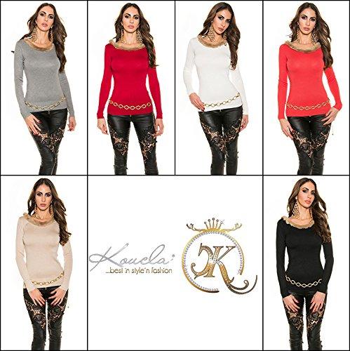 Sexy maglia a maniche lunghe con Mega scollatura e colletto Koucla by in-Fashion Style SKU 0000GN20 Viola